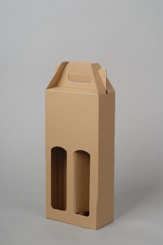 Krabice na 2 láhve 165 x 80 x 345 mm, přírodní