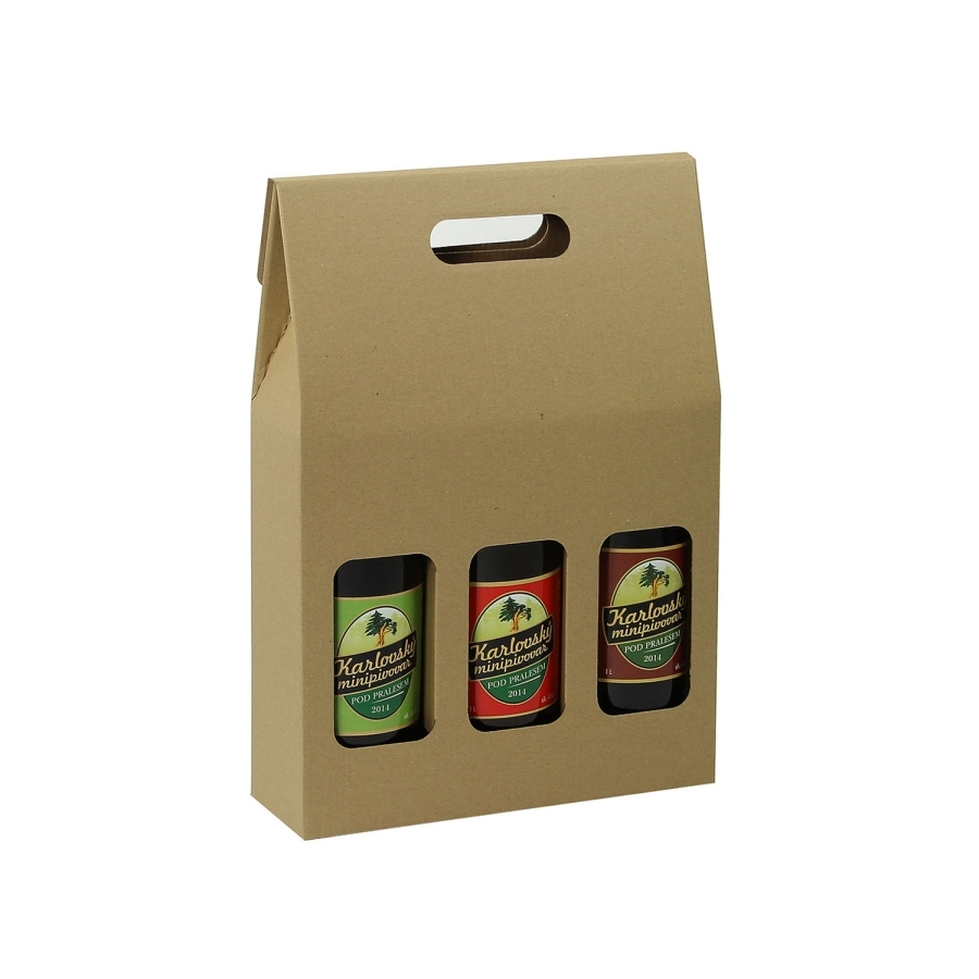 Krabice na 3 PET lahve piva 1l, 255 x 85 x 370 mm, přírodní