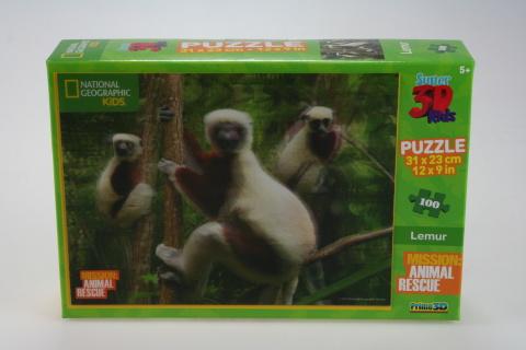 Puzzle Lemur 100 dílků 3D