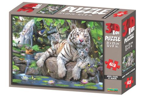 3D Puzzle Bílí tygři 63 dílků