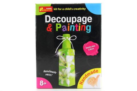 Dekupáž a malování - váza - bílé lilie