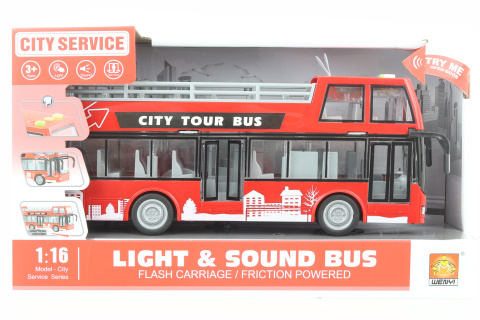 Autobus dvoupatrový vyhlídkový červený na baterie