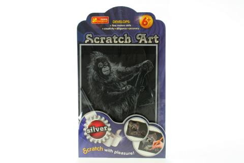 Vyškrabovací obrázek stříbrný - orangutan