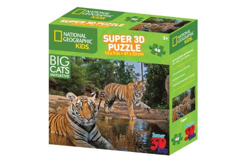 Puzzle Tygři 48 dílků 3D