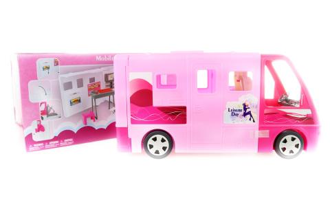 Velký růžový karavan pro panenky