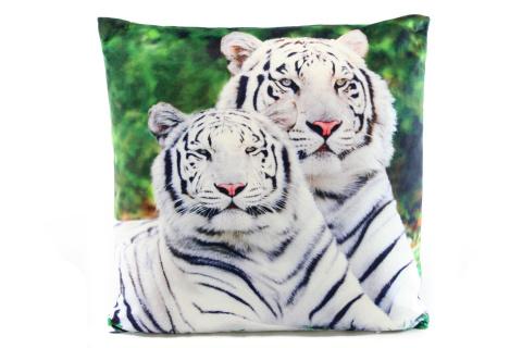 Polštářek 33 x 33 cm bílý tygr
