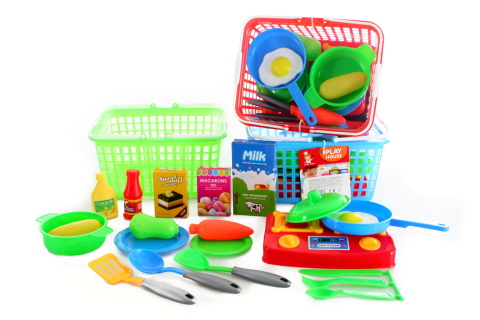 Košík s vařičem a potravinami