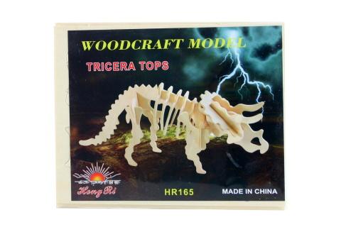 Puzzle dřevěné 3D Triceratops