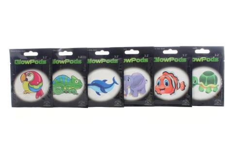 Svítící placky zvířátka 6 druhů