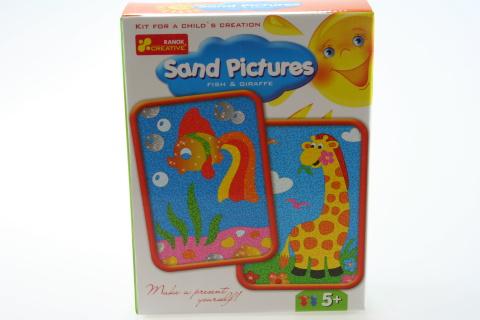 Obrázek z písku - rybka a žirafka